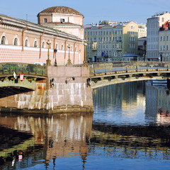 Old building and Bridge with reflection in Saint Petersburg