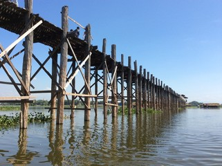 longest wood bridge in Myanmar