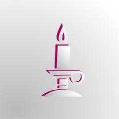 Grey paper magic candle.