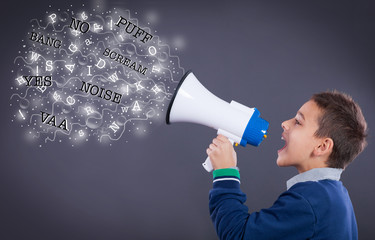 child shouting through megaphone