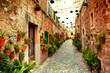 Leinwanddruck Bild - Street in Valldemossa village