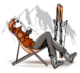 Woman having a break drinking coffee after skiing