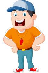 Cartoon sport coach yelling