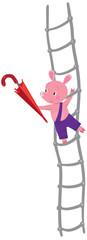 Little piglet with umbrella on ladder