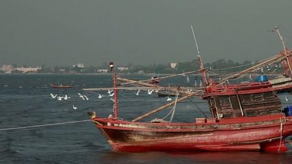 Stock Video Footage Old EXCLUSIVE wooden ship boat retro sea sun
