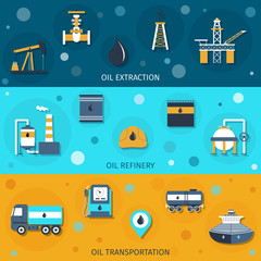 Oil Industry Flat Banners
