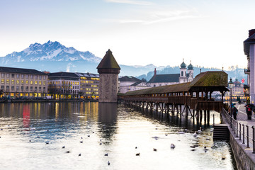 The famous Chapel Bridge in Lucerne, Switzerland.