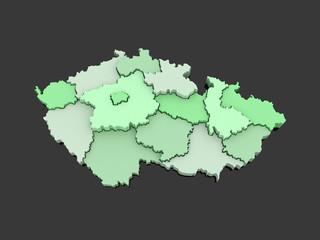 Three-dimensional map of Czech Republic.