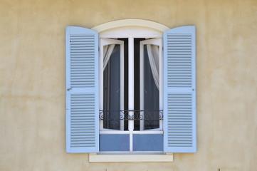 Window with louvre doors