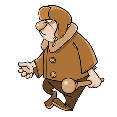 cartoon angry man in a padded jacket and a fur hat with a club