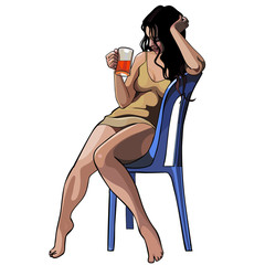 beautiful girl with a glass sitting on a chair