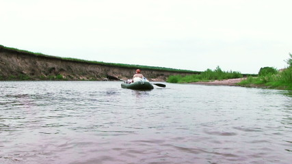 Summer River with rubber boat
