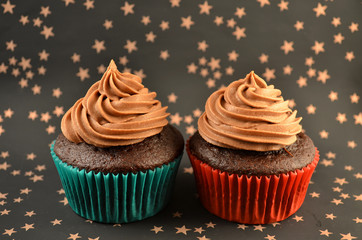 two sweet chocolate cupcakes