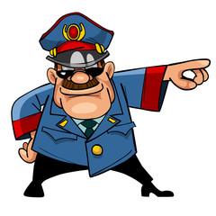 cartoon character menacing police indicates hand