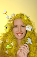 young woman with yellow hair,  in them