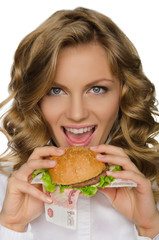 Young woman is going to bite the Burger from RUR