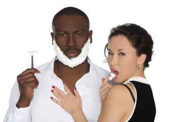 Sexy asian  licking foam from dark men with razor