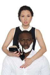 Asian woman shave dark-skinned men heel shoes