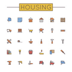 Vector Colored Housing Line Icons
