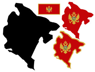 Montenegro map and flag vector