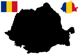 Romania map and flag vector