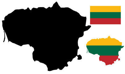 Lithuania map and flag vector
