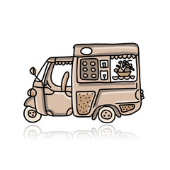 Mobile cafe with desserts, sketch for your design