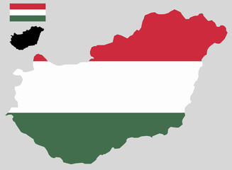 Hungary map and flag vector
