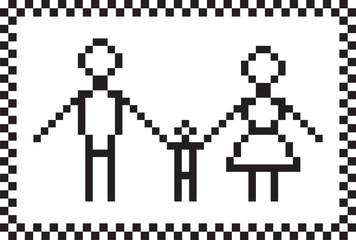 Pixel family set. Vector illustration