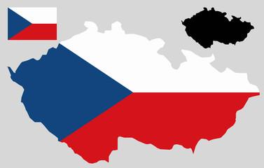 Czech Republic map and flag vector