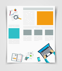 Layout business flyer or brochure technology, web template