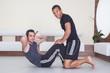 Fitness Training - man doing sport excercise