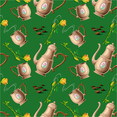 seamless pattern with coffee pot and cups