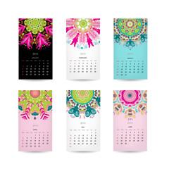 Calendar grid 2015 for your design, floral ornament