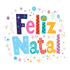 Merry Christmas Feliz Natal Portuguese lettering decorative text