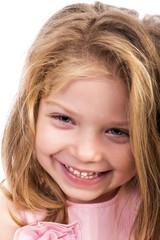 Closeup portrait of an adorable  happy girl