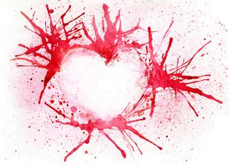 Watercolor illustration background - broken heart