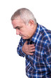 Senior man with chest pain