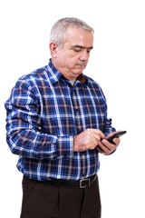 Portrait of  man using mobil phone