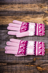 Closeup of knitted winter gloves