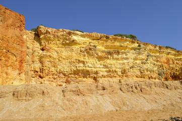 Spectacular cliffs on Senhora Da Rocha Nova Beach in Portugal