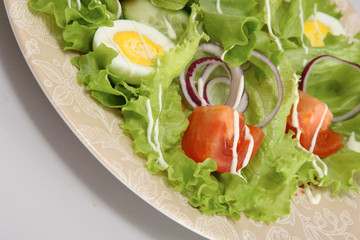 closeup of a fresh salad on the plate