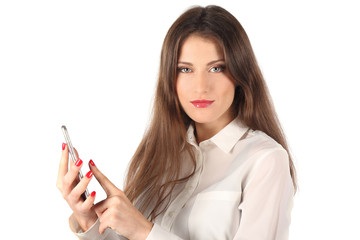 Young woman and electronic device