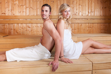 couple in sauna spa