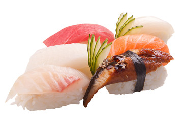 traditional sushi sashimi on white background