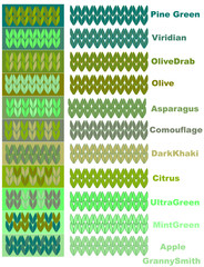 Samples of knitted yarns in green palette of colors with names