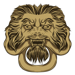 Gold lion holding a snake. Door knocker. Hand drawn vector