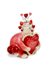 Figurine red cat with inscriptions about love