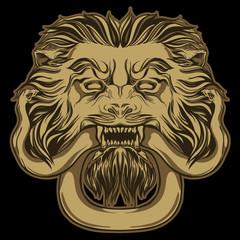Gold lion holding a snake on black. Door knocker. Vector