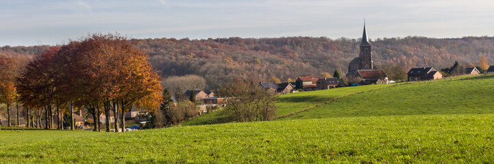 Landscape Limburg region with village in the Netherlands